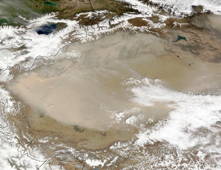 Dust Storm over China's Taklimakan Deser