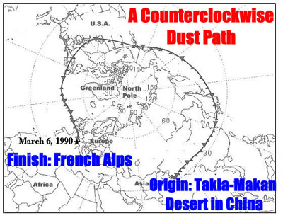The dust's         13+ day trip from the Takla-Makan desert in China,         circling the world and landing in the French         Alps