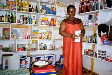 A           shop vendor in the Accra neighborhood of Alajo