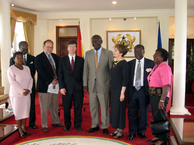 Group shot including Ghana President Kufour and Jeffery Sachs