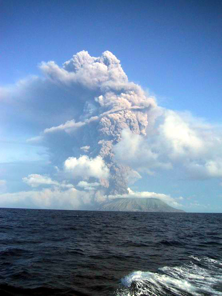 ash plume from Anatahan eruption