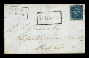 "A letter postmarked July 10, 1849 with an ""immensely rare"" Indigo Blue shade, two-pence denomination stamp of Mauritius"