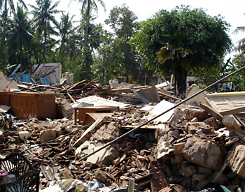 Homes destroyed by the earthquake