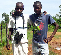 The two young guides -- Kevin Odhiambo, age 13, and William Ochieng, 14