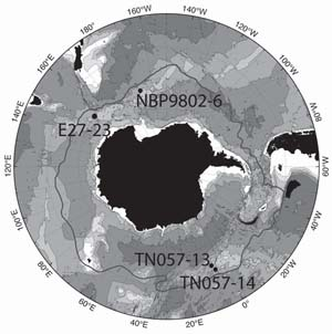 Deep Sea Sediments: locations of sediment showing Antarctic upwelling