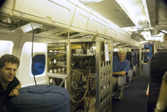 The cabin of a DC-8 aircraft has been converted for instruments and engineers  (Lamont-Doherty Earth Observatory)