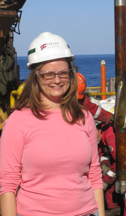 Geophysicist Ann Cook in the Gulf of Mexico.