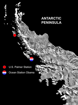 Ocean Station Obama is off the Antarctic Peninsula, 67 deg S 46, 68 deg 51 W.