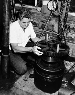 Worzel, ca. 1955, at work on a deep-sea pressure vessel