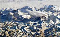 Himalayan glaciers help replenish many of Asia's most important rivers. (NASA Johnson Space Center)