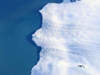 Antarctica's Larsen Ice Shelf has deteriorated in recent years; it is one target of the flights (NASA)
