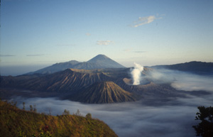 Mount Bromo, an active volcano in East Java, Indonesia.