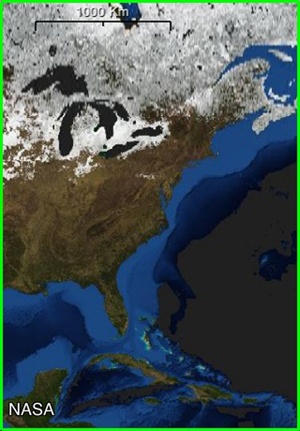North America snow cover, February (NASA)