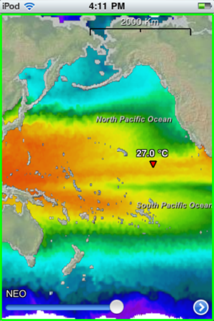 Current monthly Pacific Ocean sea-surface temperatures (NEO)