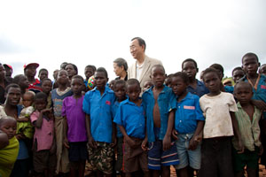 United Nations Secretary-General Ban Ki-moon with pupils of Dindi School, Mwandama Millennium Village in Malawi.