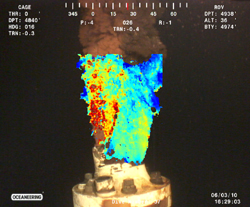 Flow from the damaged well June 3, 2010, overlain by image velocity field computed by optical plume velocimetry