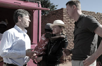 Madonna, Jeffrey Sachs and Hans Vestberg