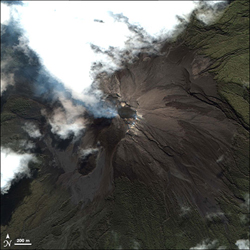 Explosive volcanoes such as Indonesia's Merapi (erupting here in 2006) have the potential to shift rain patterns