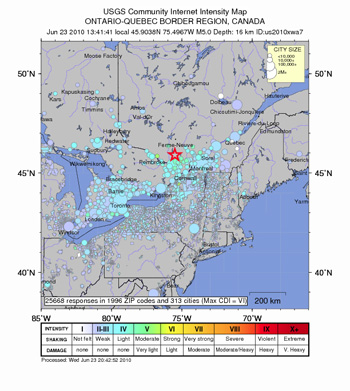 Ontario Earthquake Area. Credit: USGS.
