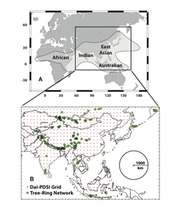 Monsoon rains touch a huge part of the world. Lamont scientists crossed most of Asia to sample sites to reconstruct past droughts.