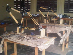 Building bamboo bikes from kits in Kumasi, January 2011