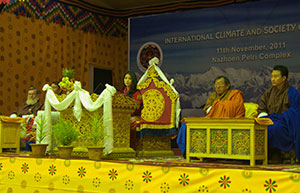Ashi Chimi Yangzom Wangchuck (left center), a member of Bhtuan's royal family, spoke to a climate conference last month; far left, Lamont-Doherty Earth Observatory tree-ring scientist Edward Cook. (Aaron Putnam/Lamont-Doherty Earth Observatory)
