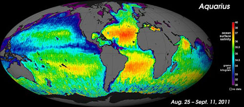 NASA's new map shows how salt is distributed in the surface layer of earth's oceans. The saltiest places are in red; the least salty, in purple. Credit: NASA