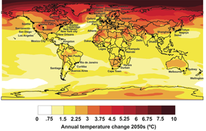 Projected temperature changes for cities by the 2050s