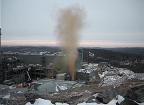 Eliminating leaks from energy-producing facilities would remove large amounts of the greenhouse gas methane from the air. Here, natural gas explodes from a pipe in Middletown, Conn., January 2010