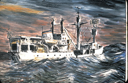 The R/V Eltanin, where Gordon spent much of his early career, inspired this oil painting. (Gordon)