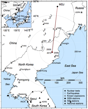 The explosion took place near Kilju, North Korea. Seismic waves were picked up by a station in Mudanjiang, China, 205 miles north—the closest one to whose data civilian researchers have access to in real time.