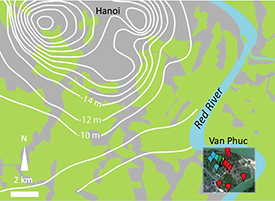 Aquifers under the village of Van Phuc, on a river bend some five miles from Hanoi, are being affected by groundwater pumping for the city's water supply