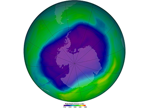 The largest ozone hole over Antarctica (in purple) was recorded in September 2006. Thanks to the Montreal Protocol, the amount of ozone-depleting chemicals in the atmosphere peaked in the late 1990s and Antarctica's ozone hole is expected to recover by 2060. (NASA)