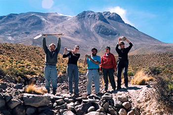 To make it up Ollague Volcano on a 2003 expedition to Chile, Sparks (left) and his research team stopped to complete some needed road repairs. (courtesy of Stephen Sparks)