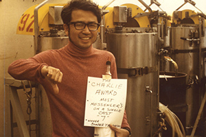 Taro Takahashi has spent more than four decades measuring the changing chemistry of the world's oceans. Here, aboard the R/V Melville, he celebrates after sampling waters near the bottom of the Japan Trench in 1973.