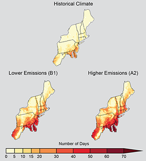 Projected increase in number of days per year in the US Northeast with maximum temperatures above 90 degrees F, 2041-2070, compared with 1971-2000, under lower or higher greenhouse-gas emissions.