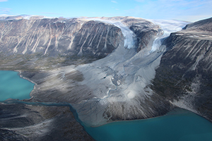 Glaciers usually advance during cold times and recede during warm ones. These two in western Greenland are now retreating from where they may have been when the Vikings arrived. (Jason Briner)