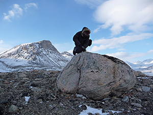 In Baffin Island's Naqsaq Valley, University at Buffalo geologist Jason Briner samples a boulder left by a glacier around the time of early Viking settlement. Measurements of chemical isotopes within the rock suggest settlers in neighboring Greenland faced cold weather. (Nicolás Young)