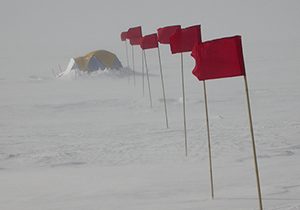 To gather data, researchers camped on East Antarctica's Recovery Ice Stream. (Ted Scambos/NSIDC)