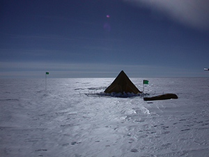 Scouring winds can polish the Antarctic surface to a bare glaze. (Ted Scambos/NSIDC)