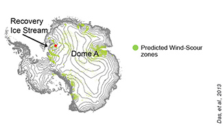 Some 7 percent of Antarctica is covered by wind-scour zones (green) where snow is persistently swept away by high-powered winds. (Das et al.)