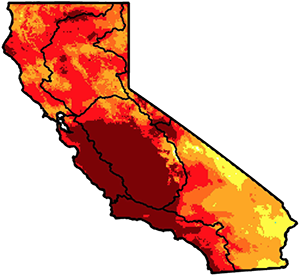 Severity of the California drought in 2014, a record-breaking year. The darkest red areas are the worst. (Williams et al., Geophysical Research Letters, 2015)