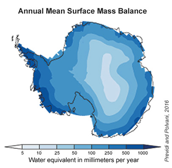 Antarctica's annual mean surface mass balance estimated using CMIP5 climate models. Future snowfall increases will also likely be largest around the edges of the continent, where storms blow in and temperatures tend to be warmer.
