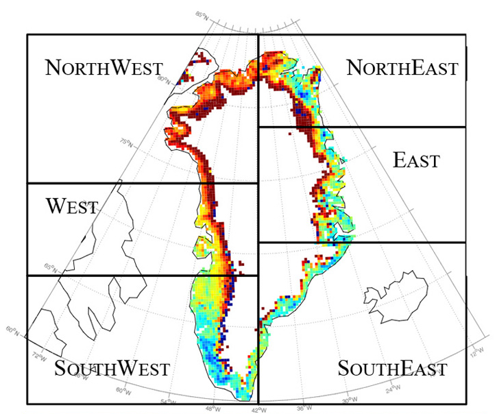 Changes in runoff from the Greenland ice sheet during July 2016 compared to the 1981-2010 mean. Redder colors indicate more runoff. (Tedesco et al, Nature Communications 2016)