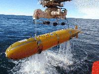 A robot submarine, Autosub 3, mapped the seafloor below Antarctica's Pine Island Glacier. Credit: British Antarctic Survey.