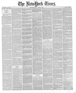 "Front page, The New York Times, Aug. 11, 1884.  ""Convulsion of the earth which shook buildings and drove people from their homes, and caused much alarm.""  New York Times"