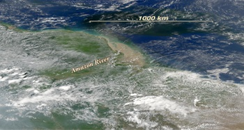 True-color image of the Amazon River outflow, which nourishes plant life thousands of kilometers into the Atlantic Ocean