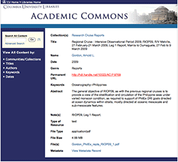 Columbia's Academic Commons website